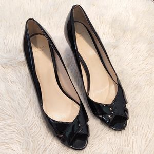 Cole Haan Lena Open Toe Pump Black Patent Leather